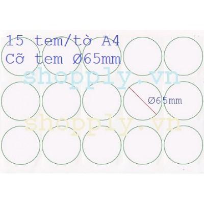 Giấy decal A4 15 tem tròn Ø 65mm