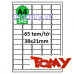 Giấy in mã vạch Tomy A4 145, 65 tem 38x21mm