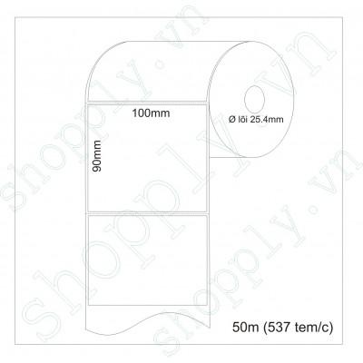 Giấy decal chuyển nhiệt 1 tem 100x90mm, khổ 104mm, dài 50m