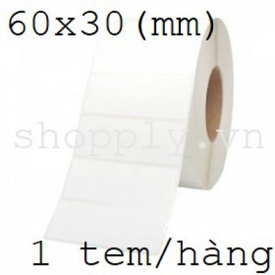 Giấy decal chuyển nhiệt 1 tem 60x30mm, dài 50m