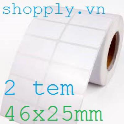Giấy decal in mã vạch 02 tem 46x25mm, khổ 95mm, 50m