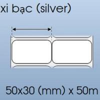 Cuộn decal xi bạc 2 tem 50x30mm, 50m