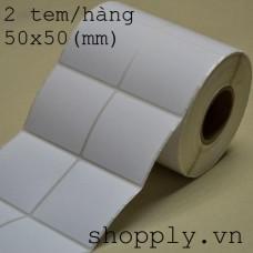 Giấy decal 02 tem vuông 50x50mm, khổ 104mm, dài 50m