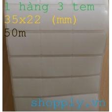 Giấy decal in mã vạch 03 tem 35x22mm, k110, 50m