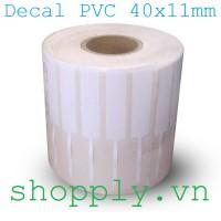 Decal nhựa PVC 40x11mm, 50m (tem vàng, tem trang sức)