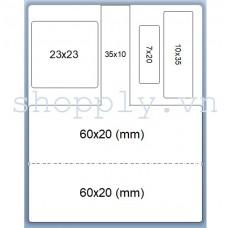 Decal nhựa PVC 60x40mm, 50m (tem kính mắt)