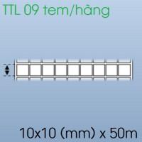 Cuộn tem nhãn giấy in chuyển nhiệt 09 tem 10x10mm, 50m