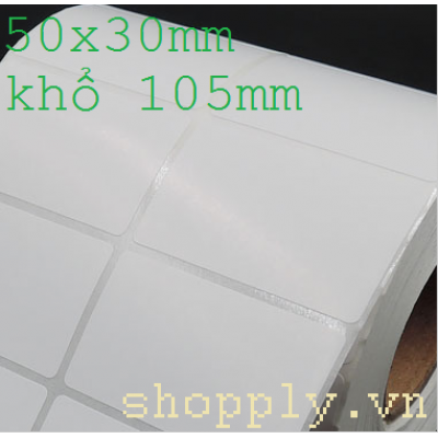 Giấy decal in tem nhãn 02 tem, 50x30mm, 50m