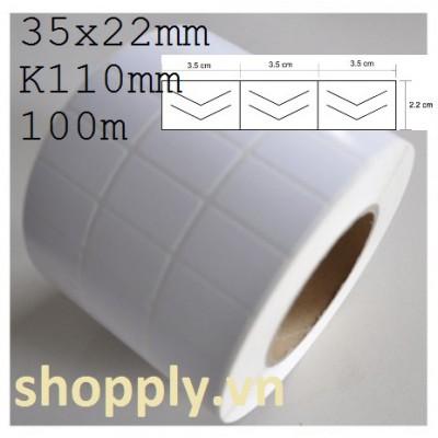 Giấy decal 03 tem chống bóc 35x22mm, 100m