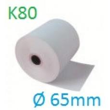 Giấy in nhiệt GiiN k80 Ø 65mm, dài 50m